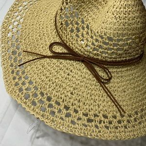 Wide Brim Tan Sun Hat with Bow on the side